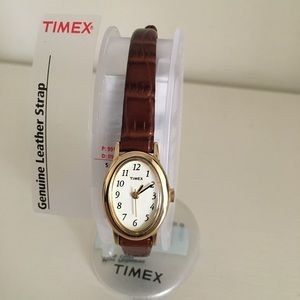 Timex Quartz Cavatina Leather Croc Watch T2J791